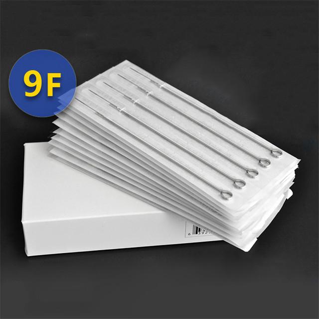 Permanent Makeup 50Pcs/Box 9F Disposable Sterile Tattoo Needles For Tattoo Gun Machine Grip Tube Kit Sets Tattoo Supplies