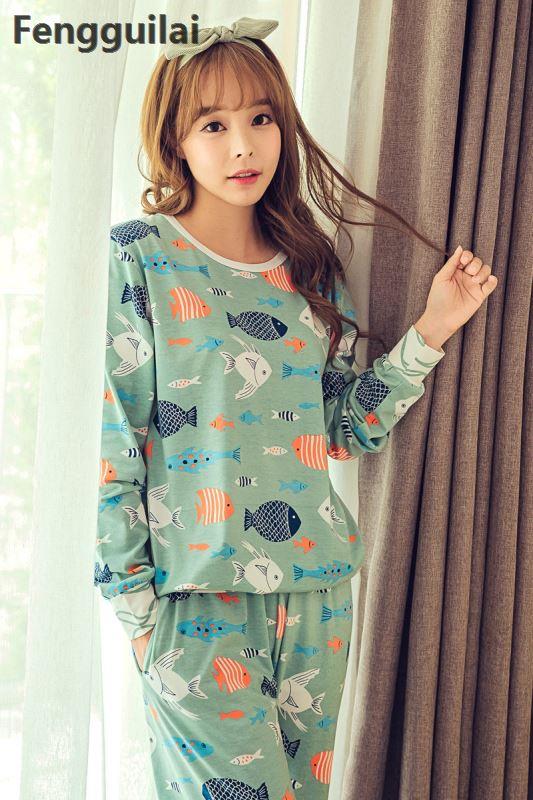 Hot Sale Autumn Winter Women Sleepwear   Pajamas     Set   Women Girl Pyjamas Cartoon Cotton Long -Sleeved Sleepwear Cute Nightgown