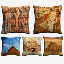 Egypt Retro Mural Landscape Artwork Decorative Cotton Linen Cushion Cover 45x45cm For Sofa Chair Pillow Case Home Decor Almofada