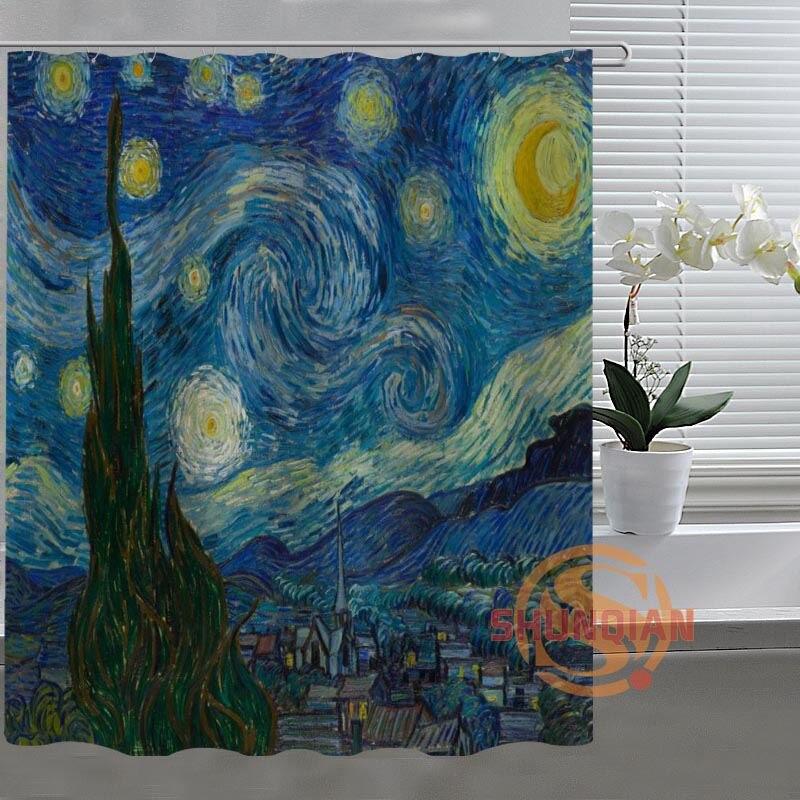 van gogh starry night Custom Shower Curtain Bathroom Fabric For Bathroom Decor Bathroom Curtain Acceptable Custom Bath screens