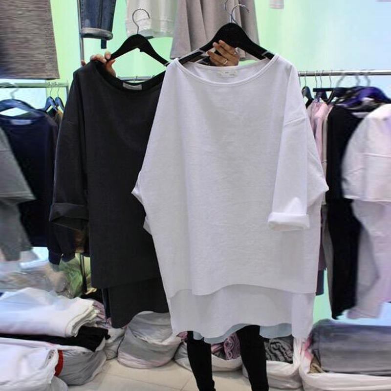 2019 New Spring 3/4 Sleeve T-shirts Women Casual Big Size Loose White Tshirt Tees Students All-match Basic Tops For Women