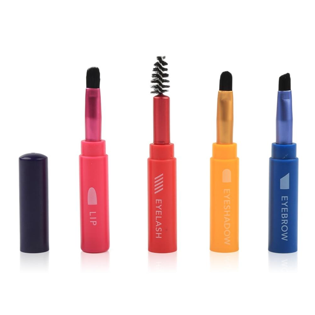 Dropship 4 in 1 Makeup Brush Lip Eyeshadow Eyebrow Eyelash Brush Travel Portable Makeup Brush Superposition Brush