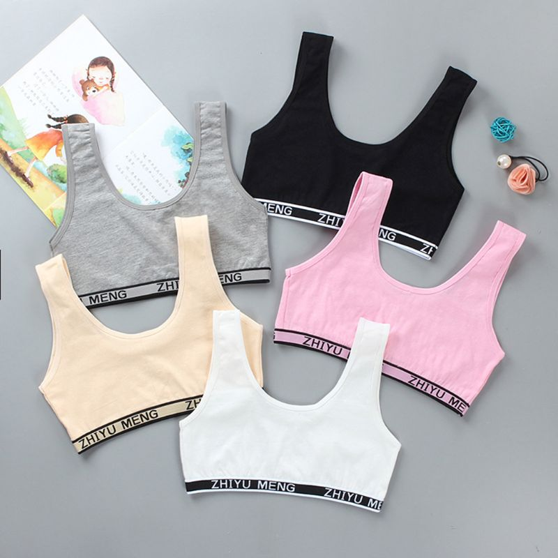 Kids Cotton Sports Training Bra Underwear Solid Color Letters Printed Scoop Neckline Teenage Puberty Girl Wireless Bralette Vest