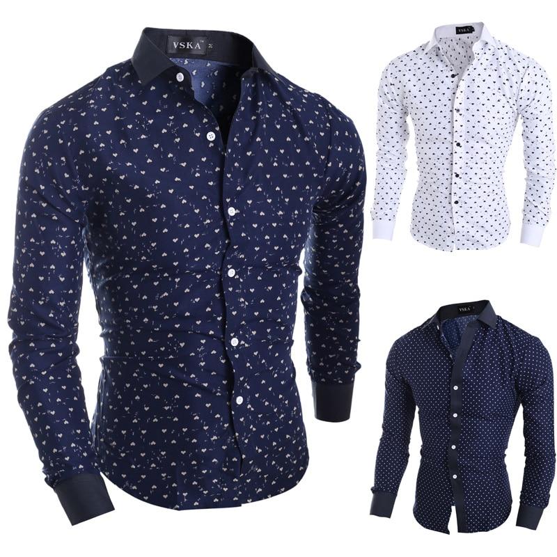 2015 new brand stars hearts prints fashion mens dress for Long dress shirts mens