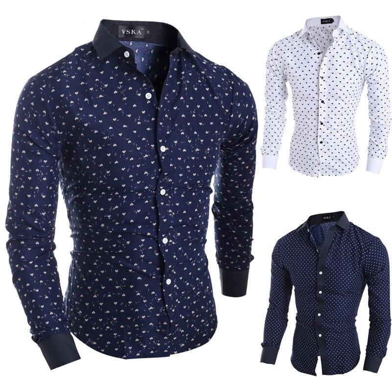 2015 Neue Marke Sterne Herzen Druckt Mode Herren Hemden Langarm Slim Fit Casual Social Camisas Masculinas M-xxl