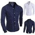 2015 nova marca estrelas corações Prints moda Mens Camisas de vestido manga comprida Casual Slim Fit Camisas sociais Masculinas M-XXL