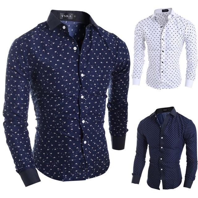 cbb27f2825 2015 nueva marca estrellas corazones estampados moda hombres vestido Camisas  manga larga Slim Fit Casual Social