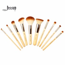 Jessup 10pcs Beauty Bamboo Professional Makeup Brushes Set Pincel maquiagem Foundation Powder Buffer Cheek Shader