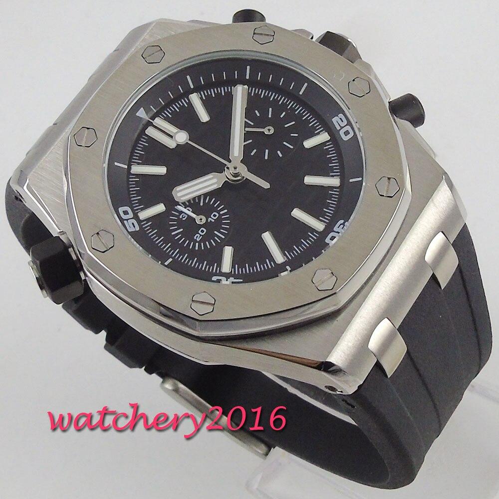 Relogio Masculino hommes montres Top marque cadran noir chronographe de luxe hommes militaire bracelet en caoutchouc montre-bracelet à Quartz montre parnis