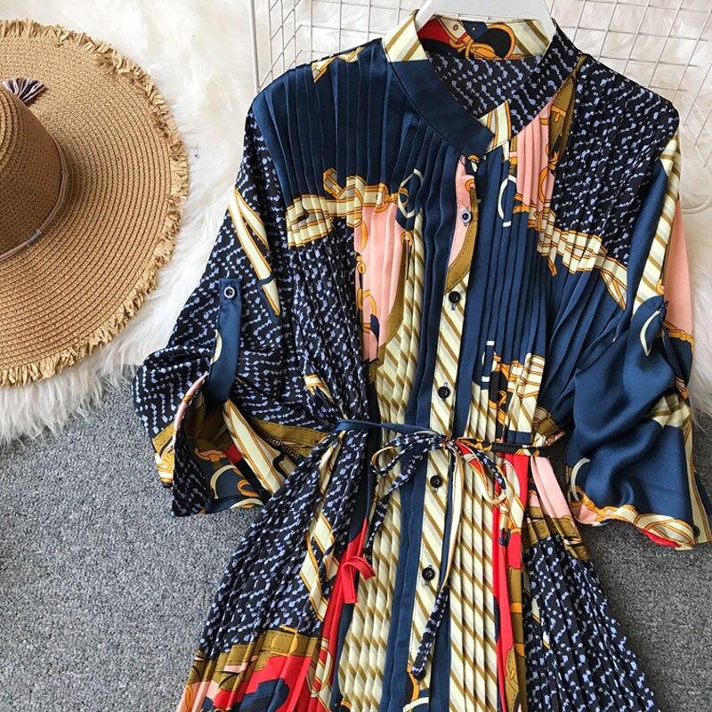 2018 de Grande Porte Solto Vestido Estampado de Cor Caráter