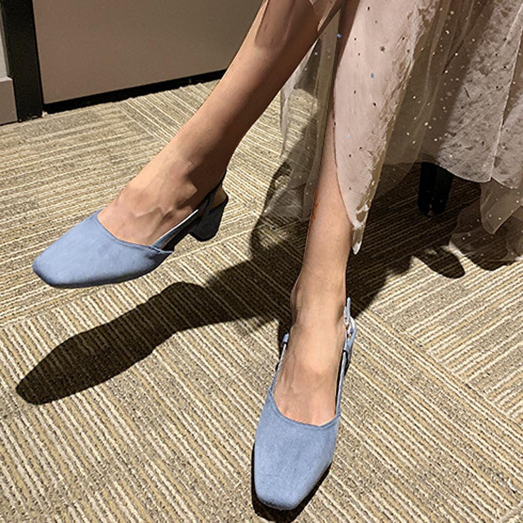 SAGACE Ladies Shallow Pure Color Flock Mouth Square Pumps Shoes Female Party High Heels Work Shoes Summer Zapatos de mujer Jul10(China)