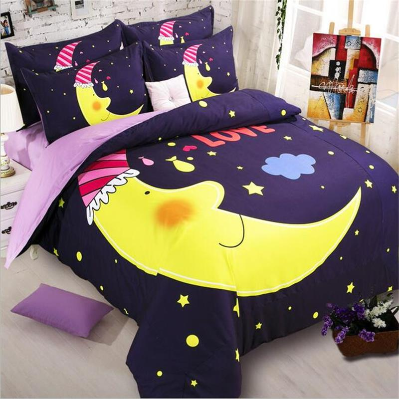 Cute Kids Cartoon Moon And Stars Bedding Set Twin Queen King Size Duvet Cover Flat Sheets