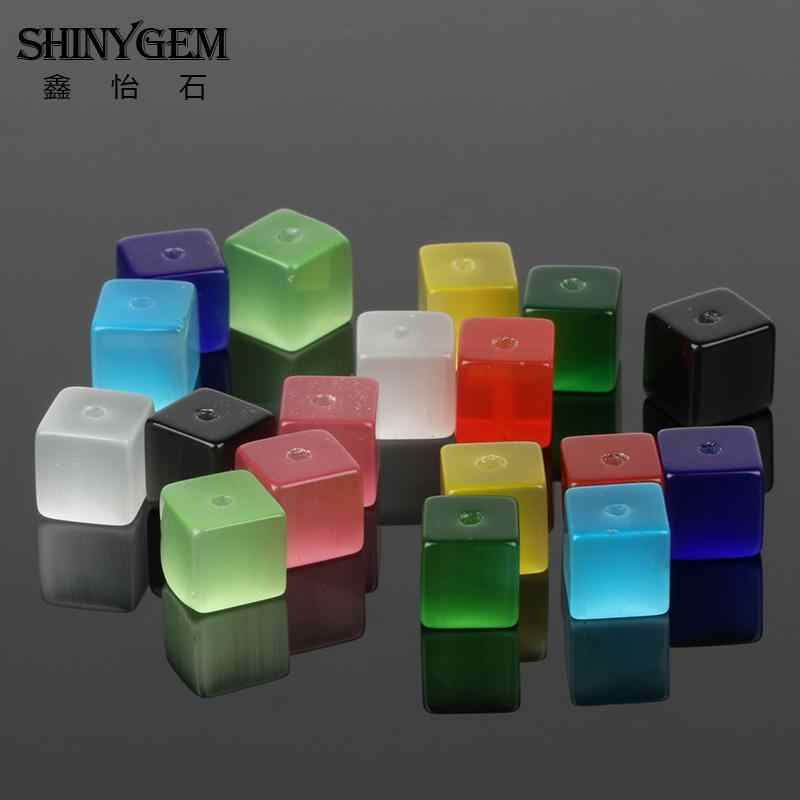 ShinyGem สแควร์ Cube Cat Eye Stone ลูกปัด 4 มม./6 มม./8mm หินธรรมชาติลูกปัดสำหรับเครื่องประดับทำสุ่มผสมสี 50 ชิ้น/แพ็ค
