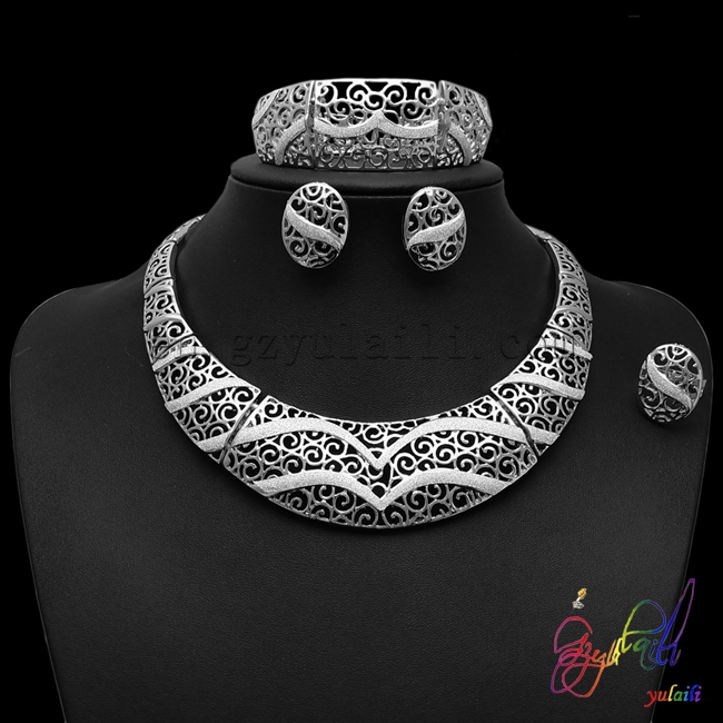 YULAILI Free Shipping Silver-plating Ladies Costume Four Pieces Gold Color Jewelry SetsYULAILI Free Shipping Silver-plating Ladies Costume Four Pieces Gold Color Jewelry Sets