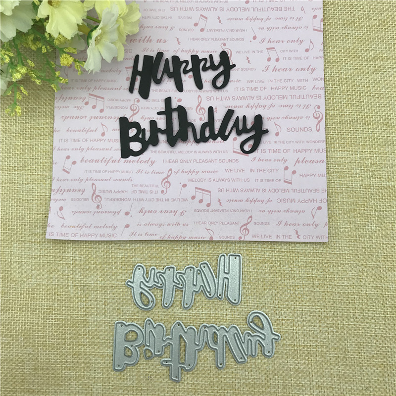 1pc Happy Birthday Metal Cutting Dies Stencil Scrapbooking Card Decor  Craft DIY