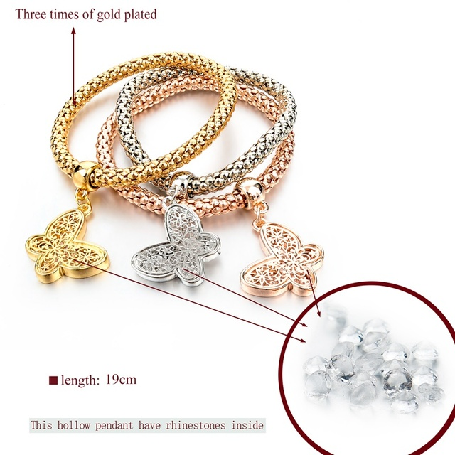 chicvie золотые полые бабочки дружбы браслеты и очаровательные фотография