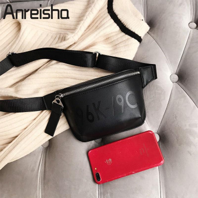 Anreisha PU Leather Waist Bag For Women Female European Style Fanny Bag Pack Girl Fashion Belt Bags Ladies Phone Coin Purse