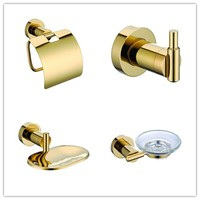 Luxury Gold brass Bathroom hardware Accessory set Paper holder Soap dish holder Robe Clothes hook