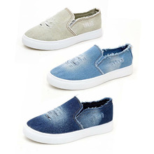 Fashion Denim Canvas Shoes Summer Hole Large Size Loafers In Women