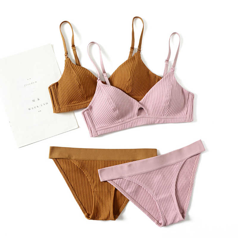 Wriufred Comfortable Cotton Thread Bralette Hollow Thin Soft Cup Bra and  Panties Wireless Lingerie Sweep Wear 1408524fb