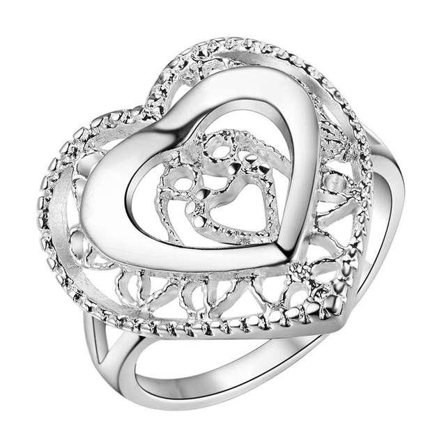 Herzförmigen Silber Fingerring Größe 6 #7 #8 #9 # Valentinstag Geschenk Frau  Schmuck