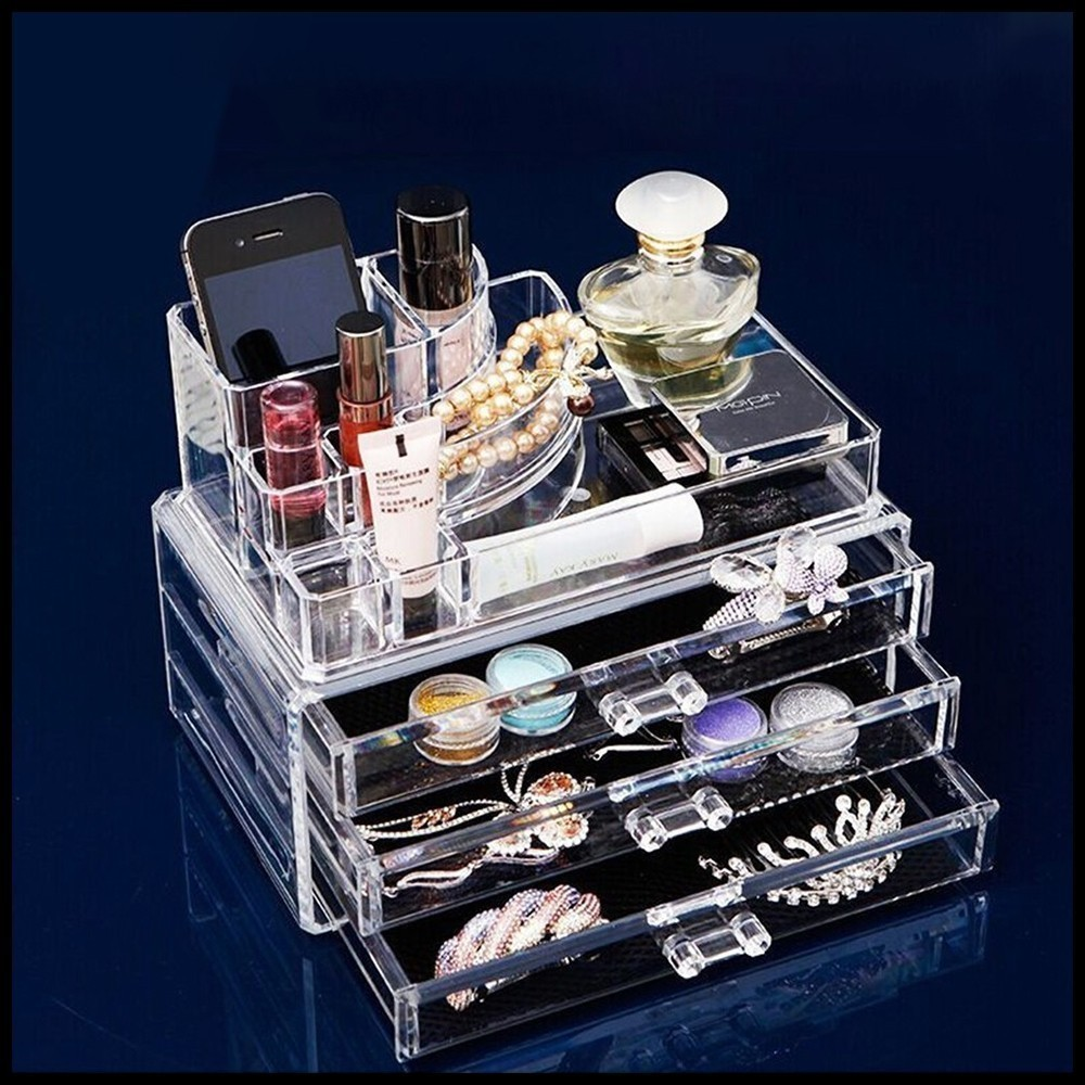 Creative Arrivals Multi-layer large capacity drawer type transparent cosmetic plastic storage box desk accessories New цены