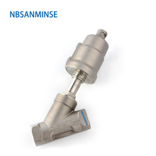 NBSANMINSE JDF 100S0NC-V 1-1/4 1-1/2 2 2-1/2 3 Pneumatic Angle Seat Valve With Viton NC SS304 316 Stainless steel Valve 1 1 4 inch 2 2 way single acting angle seat valve normally closed pneumatic angle seat valve 80mm actuator