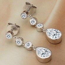 Bella Fashion 925 Sterling Silver Teardrop Bridal Earrings Cubic Zircon Wedding Earrings For Party Daily Jewelry Valentine Gift