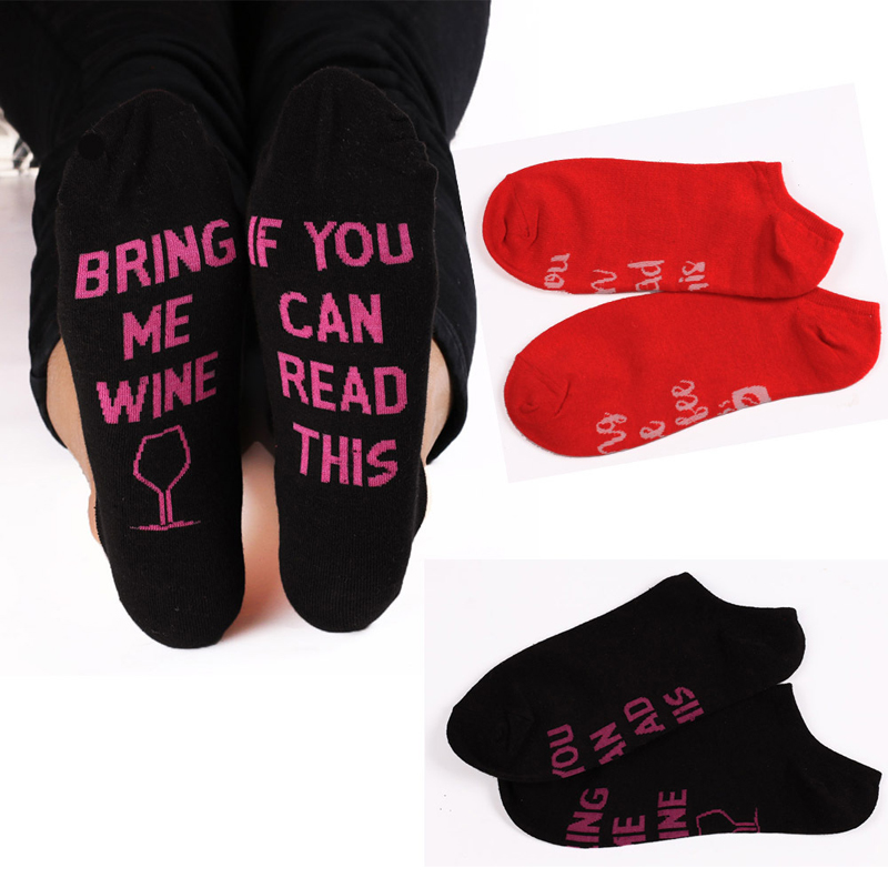 Hot Unisex   Socks   Women Funny Cotton Letter Short   Socks   IF YOU CAN READ THIS BRING ME WINE Low Cut Ankle   Socks   Men Home Meias