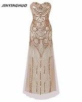 2017 Phụ Nữ Dài Strapless Vàng Tắt Shoulder Art Deco Tiệc Váy Vestido Longo De Festa Ren-Up Lưới Sequin Sexy Bên Váy