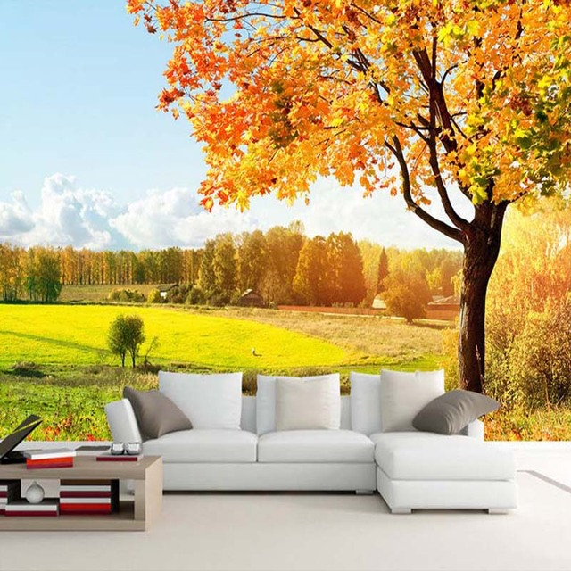 Custom 3D Photo Wallpaper Golden Autumn Tree Nature Landscape ...