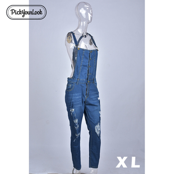 Women Plus Size Overalls Denim Jumpsuit Blue Fashion Strap Lady Bodysuit 1