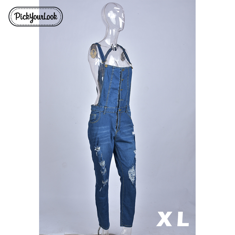 Pickyourlook Women Plus Size Overalls Denim Jumpsuit Blue Fashion Strap Lady Bodysuit Backless Large Size Female Body Rompers