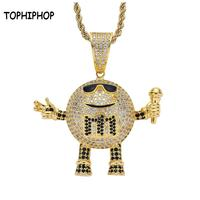 Hip Hop Jewelry Iced Out CZ Stones Karaoke Master Robot Pendant M Bean Microphone Pendant Necklace For Nightclub Rap Accessories