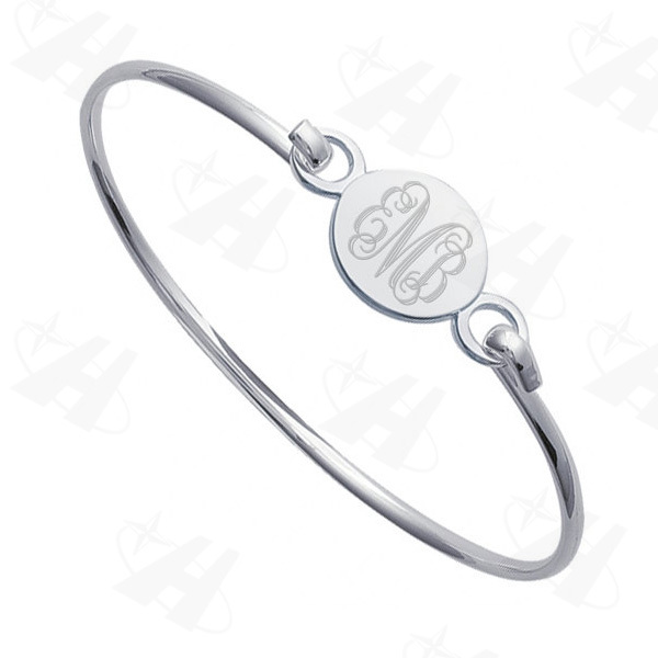 Silver Plated Monogram Bracelet Engravable Puff Round Bracelets Bangles Pulseiras Femininas Fashion Initial Disc Wire Bangle In From Jewelry