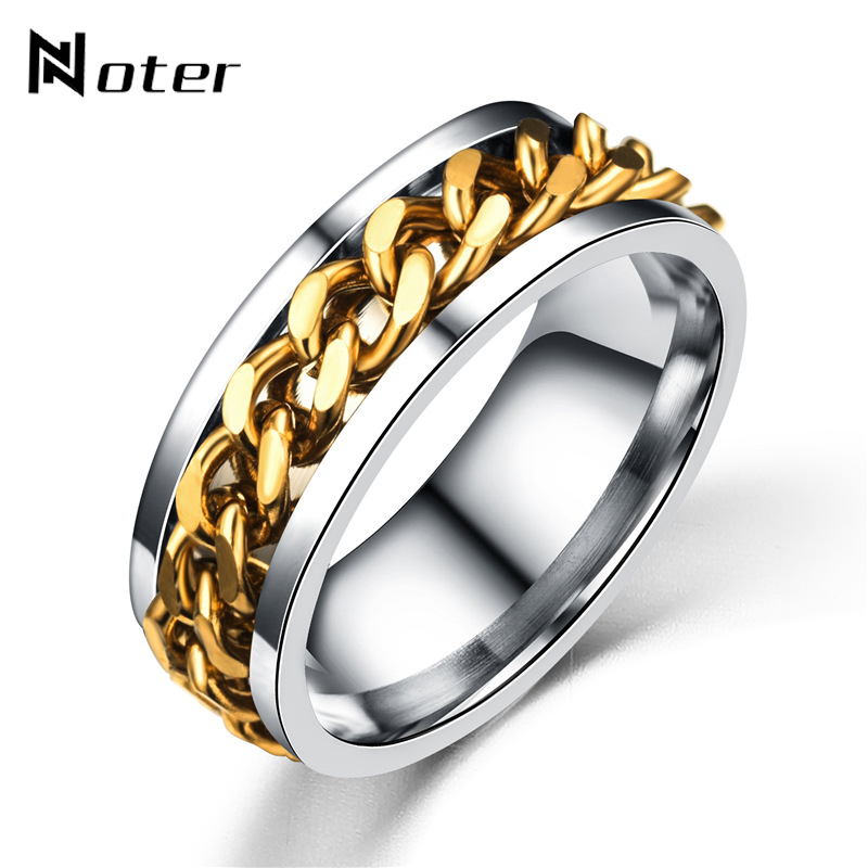 Noter BTS Move Link Chain Around Rings Stainless Steel Kpop Finger ring Spinner Ring For Women Mens Jewelry Anel Masculino