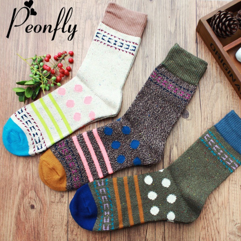 PEONFLY Men Dress Fashion Novelty Dots Stripes Geometric pattern Cotton Socks Colorful happy sock vintage casual skate socks