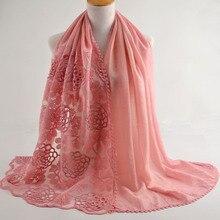 Кружевной хиджаб Женская шаль Цветочная хлопковая вискоза обертывания вышивка глушитель мусульманский осенний шарф