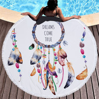 POBING 2019 Newest Style Feather Dream Flamingo 450G Round Beach Towel With Tassels Microfiber 150cm Picnic Blanket Mat Tapestry
