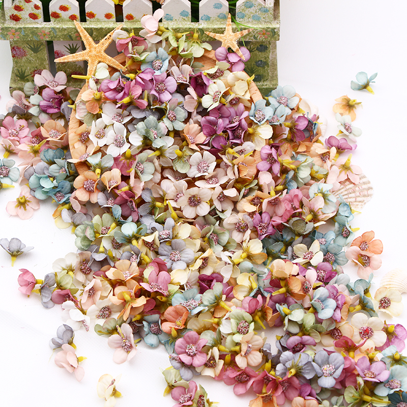 50/100 stücke Multicolor Daisy Blume Kopf Mini Silk Künstliche Blume Für Hochzeit Engagement Party Home Decor DIY Girlande kopfschmuck