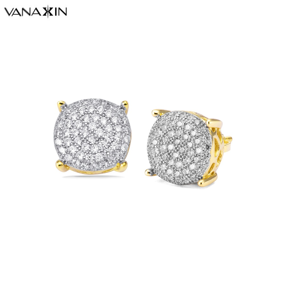 VANAXIN 925 Sterling Silver Men Earrings Gold/Silver/Black Color Micro Inlay AAA Cubic Zirconia Paved CZ Sterling Silver Jewelry