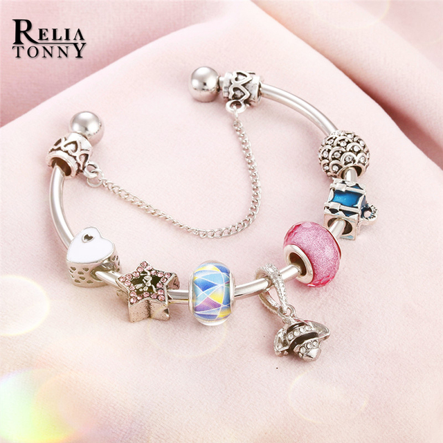 Women Bracelet Charm Open Silver Plated Bracelets & Bangles DIY Glass Crystal Beads Animal Pendant Wrist Chain Jewelry Girl Gift