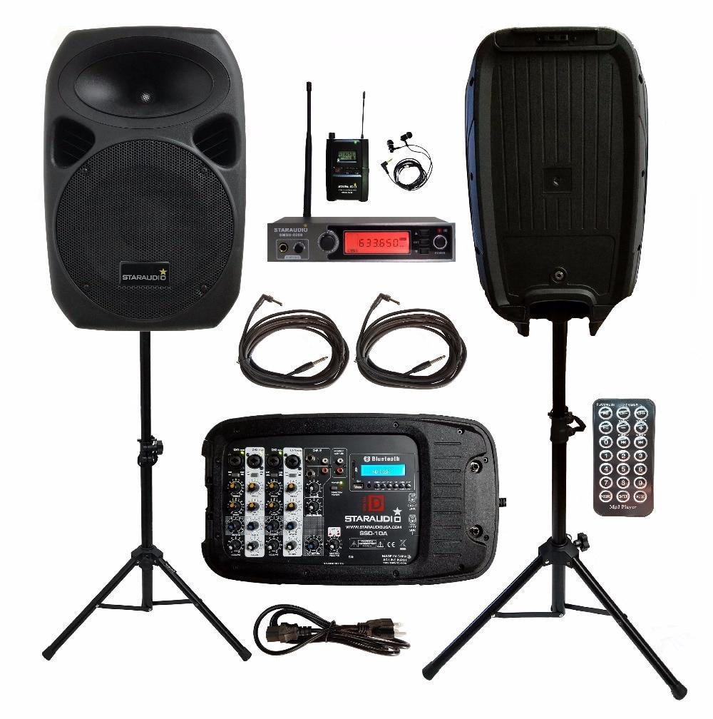 "2 Staraudio 1500 Watt 10 ""pa Dj Ktv Bt Mp3 Bt Usb Lautsprecher Mit Uhf Wireless Mikrofon 2 Steht Mit Power Mixer Kabel Ssd-10a"