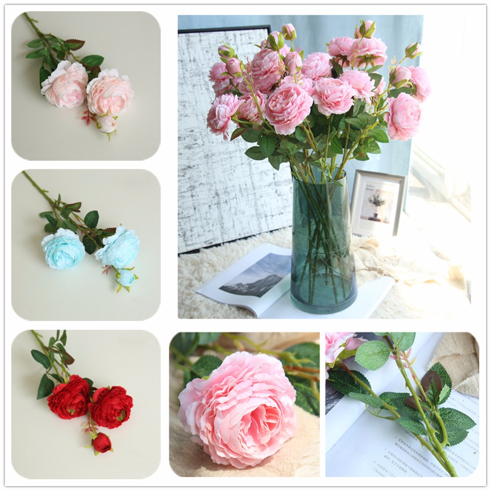 New Western Rose Artificial West Peony Flowers Bouquet For Home Living Room Decoration Wedding Road Lead Arched Door Decor