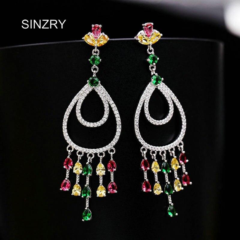 SINZRY Marque 2018 NOUVEAU zircon éblouissant waterdrop boucles d'oreilles femmes coloré gland de mariée boucles d'oreilles de mode Coréenne bijoux