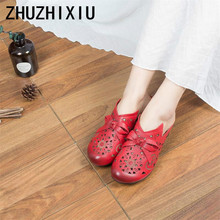 ZHUZHIXIU-Hot,2019 spring new style women's genuine leather Baotou cool slippers with bow flowers and hollow slippers,4 colors