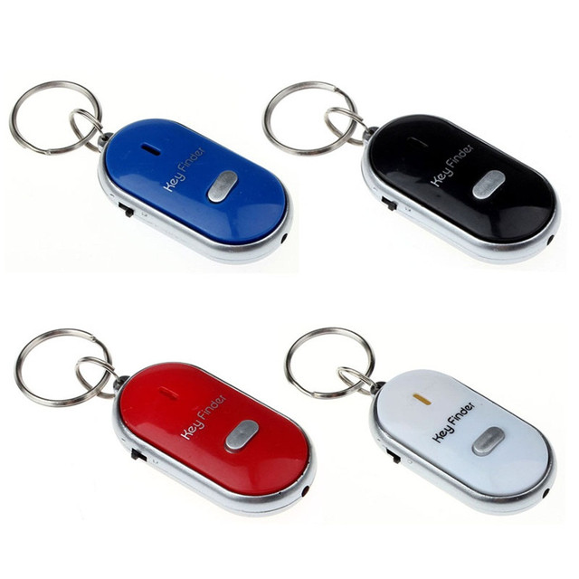 New 1pc Whistle LED Light Torch Remote Sound Control Lost Key Finder Locator Remote Keychain Keyring With Whistle Claps 5