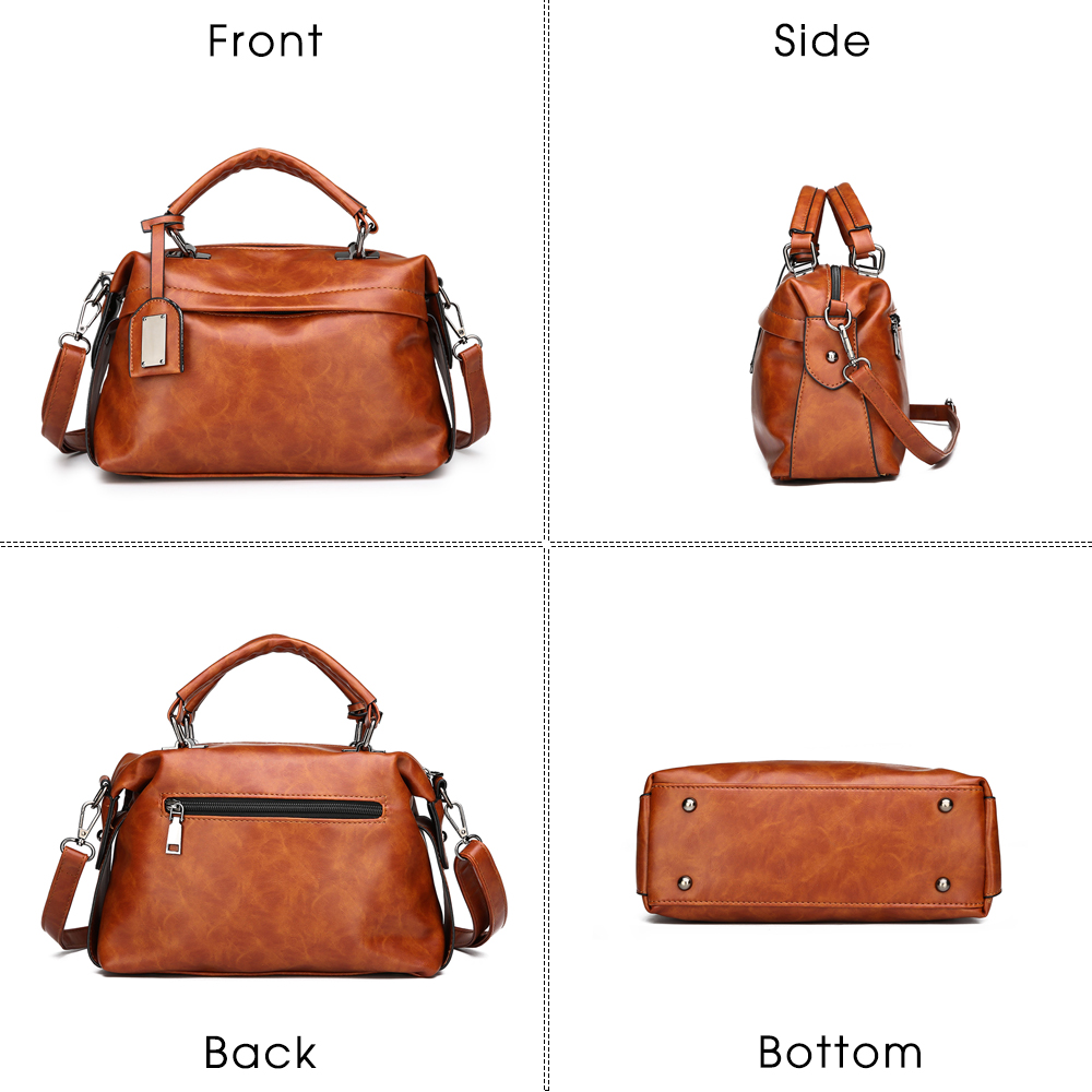 Boston brown 'borsa pink Casual Donne Borsa Delle Pelle Qualità Modo Sacchetto Ladies Nuova In Bag Femminile Spalla Araldo Sac Di Black handle Top 1nxzFF