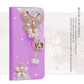 Делюкс мода женщина леди бабочки перлы алмазный цветок pu кожаный бумажник case для iphone 7 plus 6s плюс 5S se мешок кожи