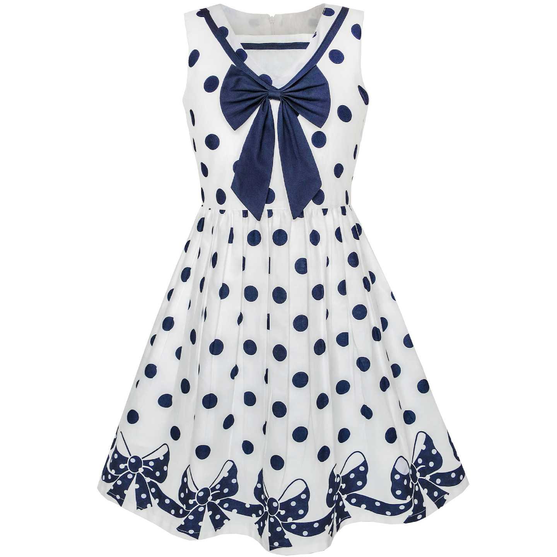 fbe27929d3ec1 Girls Dress Navy Blue Dot Bow Tie Back School Uniform Cotton 2019 Summer  Princess Wedding Party Dresses Children Clothes Pageant